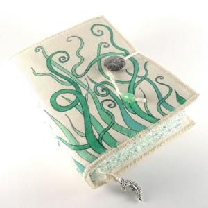 Swirly Growings, painted fabric journal