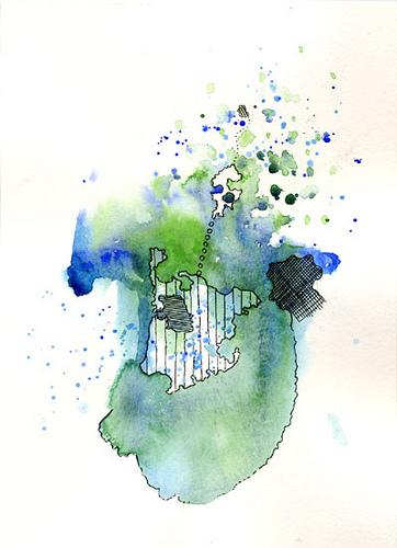 Hidden, original drawing, ink and watercolors