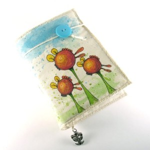 My Flowers Are Alien, painted fabric journal