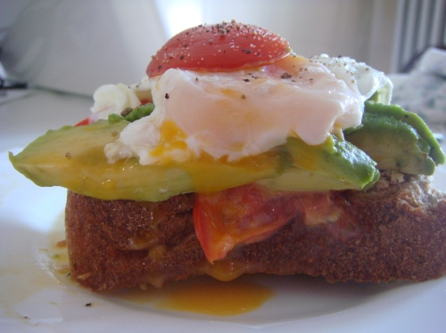 Our brunch yesterday: toast, tomato, avocado and one of the successful poached eggs!
