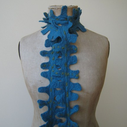 XL felted scarf/ jewel blue with olive green accents