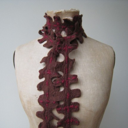 felted scarf/ jewel brown with red accents
