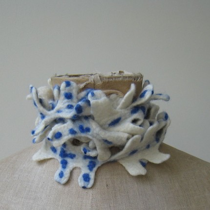 Felted scarf/ jewel in white with blue accents