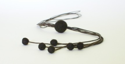 Growth - brown felt beads on adjustable cottonwaxed cord