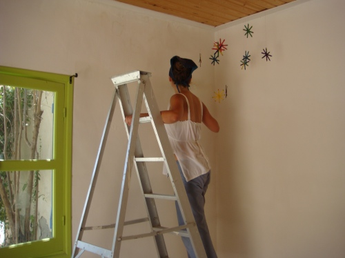 Carefuly not to touch my handmade wooden stars decoration